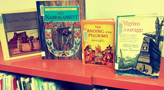 A picture of four non-fiction children's books about the Pilgrims and the Narragansett Native Americans.