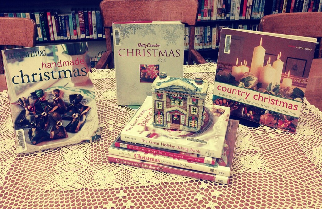 picture of a display of Christmas craft and cook books