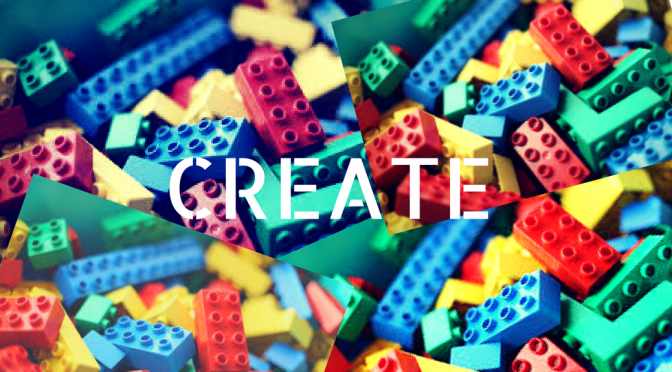 "image of legos with the word ""Create"" centered upon it"