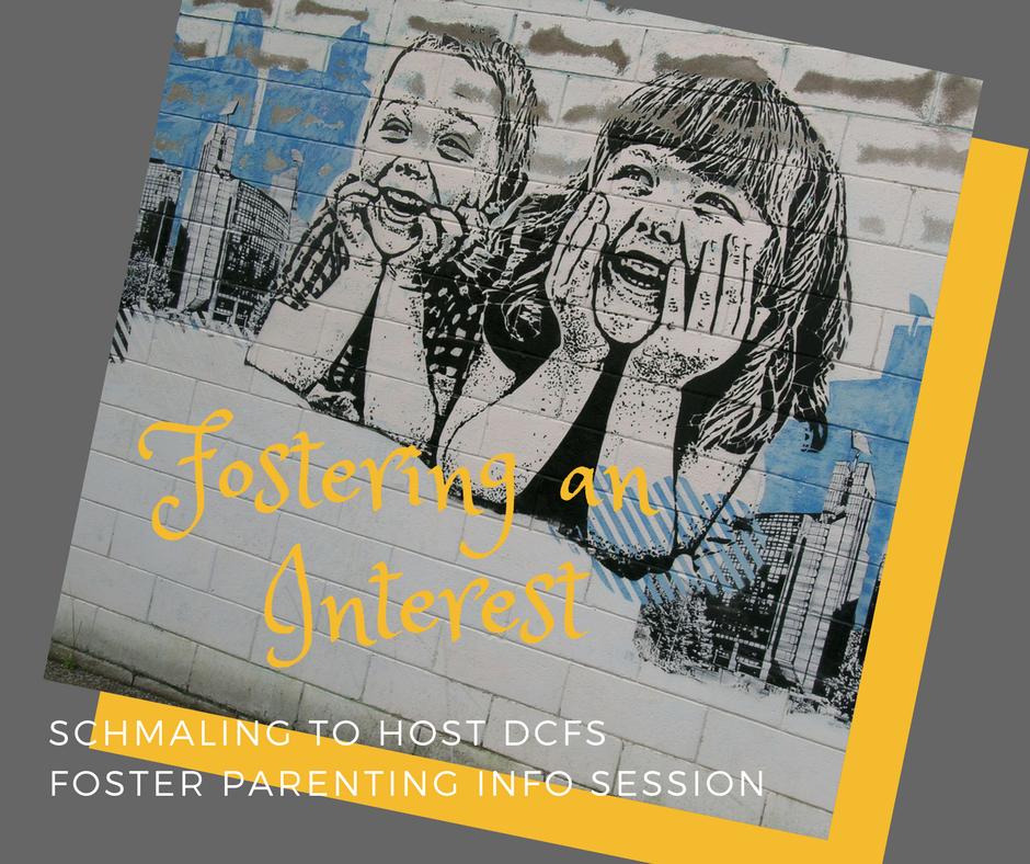 "image of young boy and girl with the words ""fostering an interest: Schmaling to host DCFS foster parenting info session""."