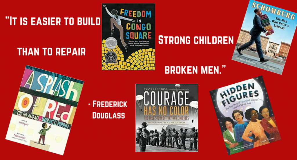 a collage of book covers that celebrate black history month - for children