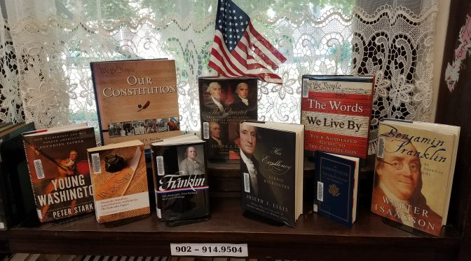 photo of books about U.S. Constitution and Founding Fathers
