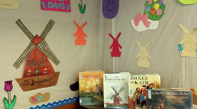 photo of the display downstairs in the children's room of Dutch themed books and other decorative items