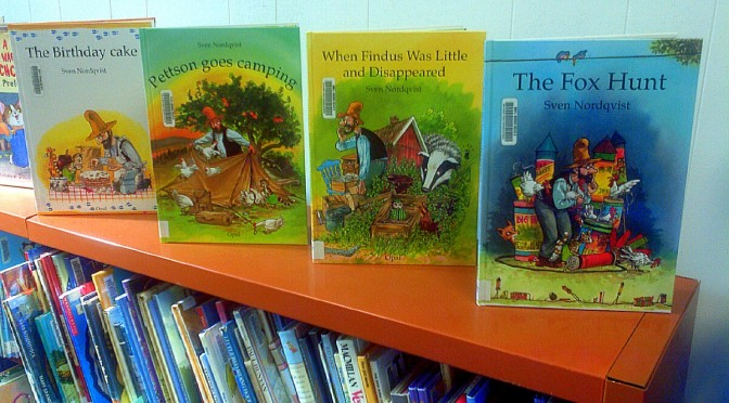 a photo of a new series of picture books donated by Ron and Connie Koehn about Pettson and Findus by Sven Nordqvist