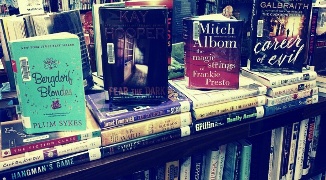 A picture of many new adult fiction books.